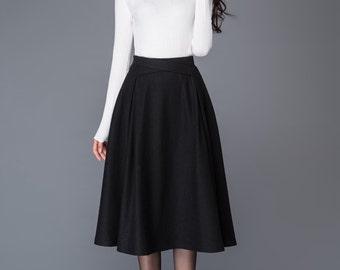 tea length skirt, wool skirt, womens skirt, pleated skirt, skirt, black skirt, vintage skirt, winter skirt, womens skirts, handmade C1008