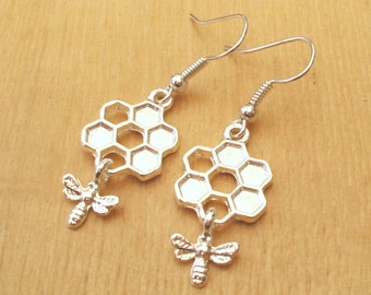 Bumble Bee Earrings, Honeycomb Earrings, Silver Bee Earrings, Honey Bee Earrings, Choose Sterling, Surgical Steel or Silver Plated Ear Wires