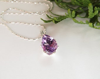 Amethyst Necklace, Sterling Silver Necklace, Purple Semi Precious Gemstone Necklace, February Birthstone Necklace, 10x7 mm Pear Cut Amethyst