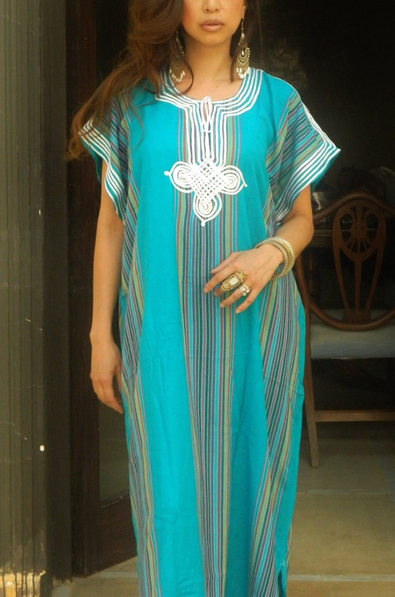 Resort Caftan Kaftan Bedoin Style-Turquoise-Perfect as loungewear,as beachwear, beach cover ups, resort wear, gift for moms, Ramadan, Eid