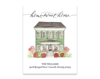 Moving Announcements | New address cards | Watercolor | Custom Home Painting | Realtor Gift | Housewarming | Home Sweet Home