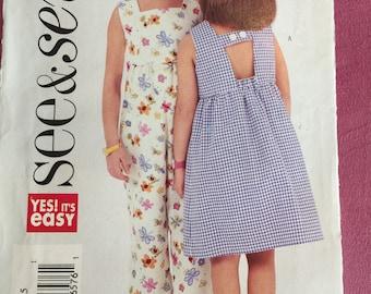 Butterick 3888 See & sew child/girl's dress romper uncut pattern
