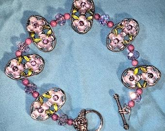 Beaded Purple Flower Bracelet