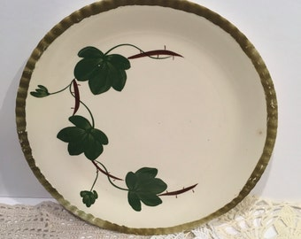 Vintage blue ridge plate, hand painted, southern potteries, plate, ivy, platter, dishes, serving, shabby chic, cottage, wall, green,