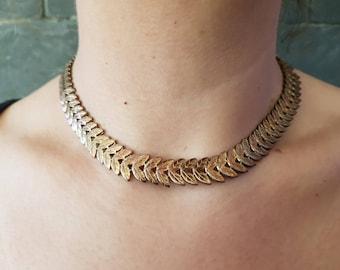 Vintage mesh leaf necklace vintage necklace