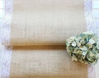 Burlap & Lace Table Runners - Farmhouse Decor - Lace - Tablescape - Rustic Decor - Dining Room Decor - Table Runners - Burlap - 18in