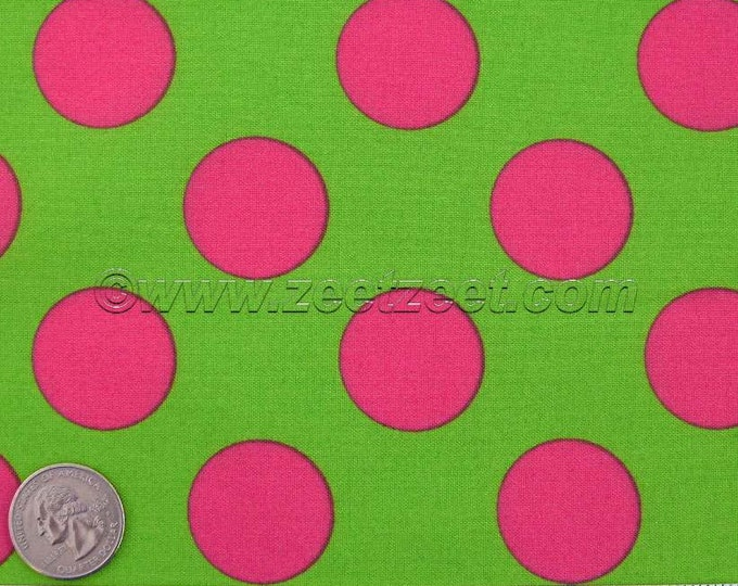 "14"" Remnant Lime Green Hot Pink Large Polka Dot Kokka CANDY PARTY Lime Fuchsia Quilt Fabric - Imported Japanese"