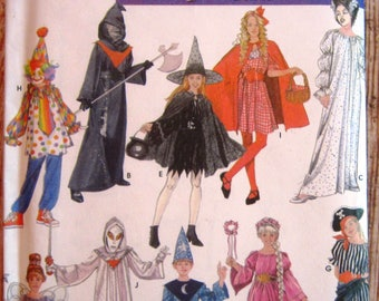 Boys/Girls Costumes: Wizard Pirate Fairy Princess Clown Grim Reaper Witch, Red Riding Hood Sizes S M L Simplicity Pattern 4860 UNCUT