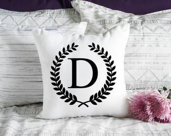 Laurel Wreath Pillow Cover - Monogram Pillow Case - Decorative Pillow Cover - Wedding  Decor - Monogram Wedding Gift  - Throw Pillow Cover