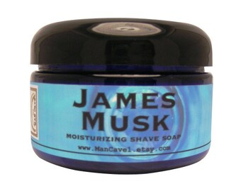 SHAVE Soap in a Jar  - JAMES MUSK - Straight Razor Shaving with Bentonite Clay and Shea Butter by Man Cave Soapworks