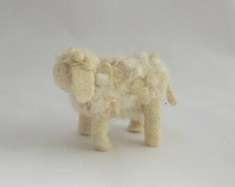 Nativity set, 1 sheep, needle felted wool, Waldorf inspired miniatures; adult sheep