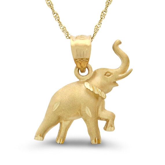 14k solid gold elephant pendant with 18 14k solid gold aloadofball Gallery