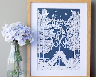 Papercut - Woodland Wedding Papercut - Romantic Papercut - Paper Anniversary Papercut - Personalised Papercut - Woodland Papercut