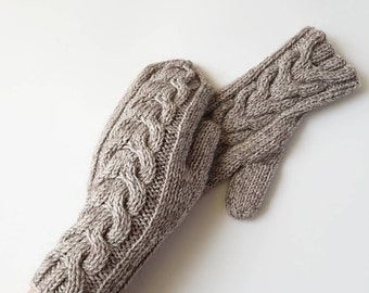Cable knit mittens, grey hand knit women's gloves, cable knitted mitts, merino wool gloves, gift idea, winter gloves