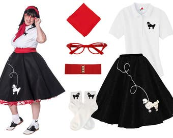 6 pc 50's Adult POODLE SKIRT Outfit-Plus Sizes