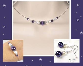 Set purple rhinestone - wedding set - purple wedding - Romantica Collection - lily wedding jewelry bridal jewelry wedding Bridal
