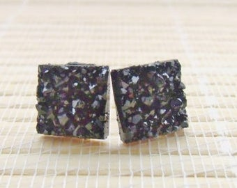 Black Druzy Faux Studs Rose Gold Plated 12mm