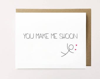 Cute anniversary card, Monthaversary card, Funny anniversary card, You make me swoon, Love card for girlfriend, Card for boyfriend