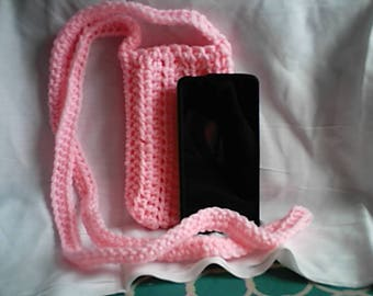 Cross Body Cell Phone Pouch Cozy Pink Crochet