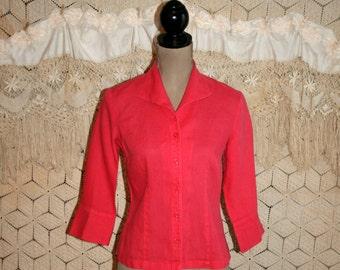 Pink Blouse Linen Tops Womens Shirts Small Spring Summer Casual Dark Pink Shirt Linen Shirt Linen Top Size 4 Talbots Womens Vintage Clothing