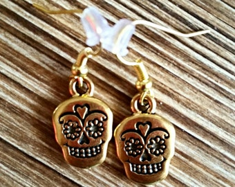 22 carat Gold Plated Dia de los Muertos Sugar Skull Earrings, Calaveras