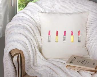 lipstick decor - lipstick throw pillow- red lipstick decor - red lipstick throw pillow - decorative throw pillow . throw pillow with words -