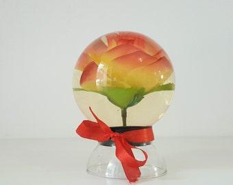 Bola de cristal con flor vintage/ vintage glass ball with flower