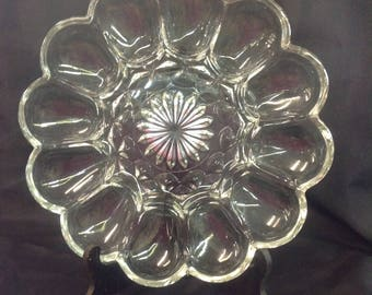 Vintage Glass Egg Platter