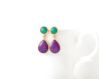 Green and Violet Jade Double Stone Stud Earrings