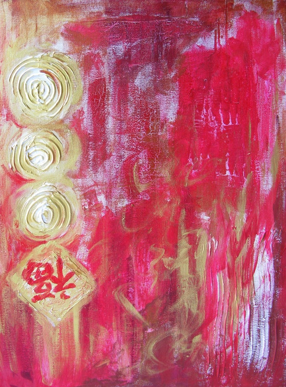 YIN LUM Firecracker lucky chinese red coin oriental chinese abstract art artwork painting wall art home decor