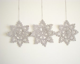 Silver snowflakes Crochet snowflakes Christmas decor Hanging ornament Christmas ornaments appliques White Christmas Crochet decorations