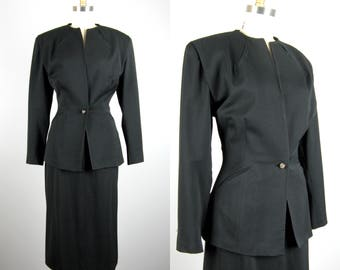 Vintage 1940s Suit 40s Beautifully Tailored Wool Suit from Rusan's Size M