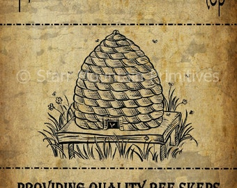Primitive Bee Skep Honey Pantry Logo Jpeg Digital File for Crock  Jar, Labels, Pillows and more!