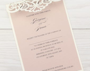 SAMPLE * Josephine Laser Cut Wedding Evening Invitation. Josephine Range