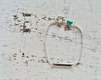 Minimalist bracelet silver bar and two Turquoise gemstone