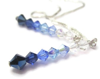 Shaded Crystal Threader Earrings Sterling Silver Long Chain Earrings Blue Purple Green Pink Ombre