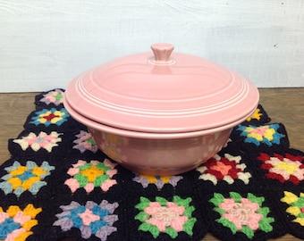Vintage Fiestaware Pink Covered Casserole