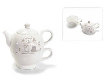 Christmas ceramic teapot and mug set with Christmas decorations. 71.29.86 4S-0WWY-VU87