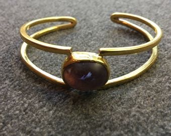 Recycled Bullet Amethyst Cuff Bracelet // Free Trade From Cambodia // Boho Brass Bracelet // Upcycled Ammunition Jewelry