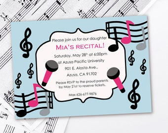 Orchestra Concert Invite Piano Recital Invitation Music