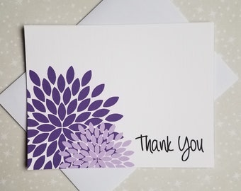 Purple and Lilac Flower Blossoms, Thank You Cards, 8ct