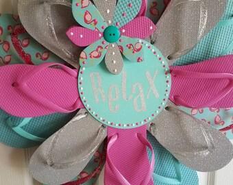SALE ** 1/2 Price! Adorable RELAX Flip Flop Wreath Door Wall Decor Beach Ocean Spring
