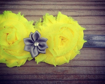 Grey and Yellow Girls Headband Multiple Colors Available