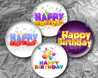 "Happy Birthday -  15 Images in 1 Inch Circles 4"" x 6"" Digital Collage Sheet For Bottle caps, Cupcake Toppers"