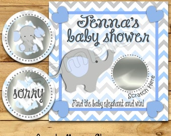 Boy Baby Shower game Elephant shower ideas Custom game cards Elephant Baby shower Scratch off cards Scratch off favors 12 Precut printed