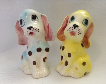 Adorable Vintage anthropomorphic spotted puppy salt and pepper shakers