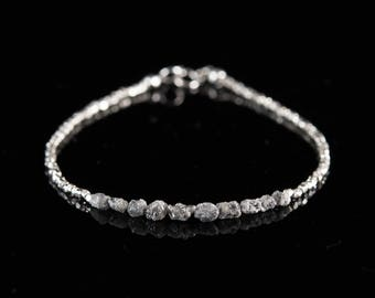Raw Diamond Bracelet, Rough Silver Grey Diamonds and Tiny Sterling Silver Beads, Dainty and Delicate Bracelet