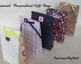 Digital Download Tutorial to Make Your Own Personalized Paper Gift Bags - Paper Pattern, Paper Craft, PDF, Do It Yourself, How To