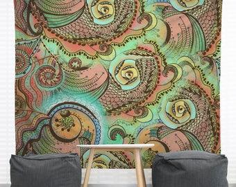 Cornucopia Hanging Wall Tapestry. Large Wall Art, Headboard Tapestry, Tattoo Tapestry, Seashells, Nautical, Underwater, Ocean