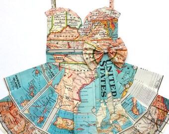 "USA Map Dress - CUSTOM United States Hand-Folded Map Dress - 18"" x 24"" - Choose your Style! - Nursery Wall Decor Art"